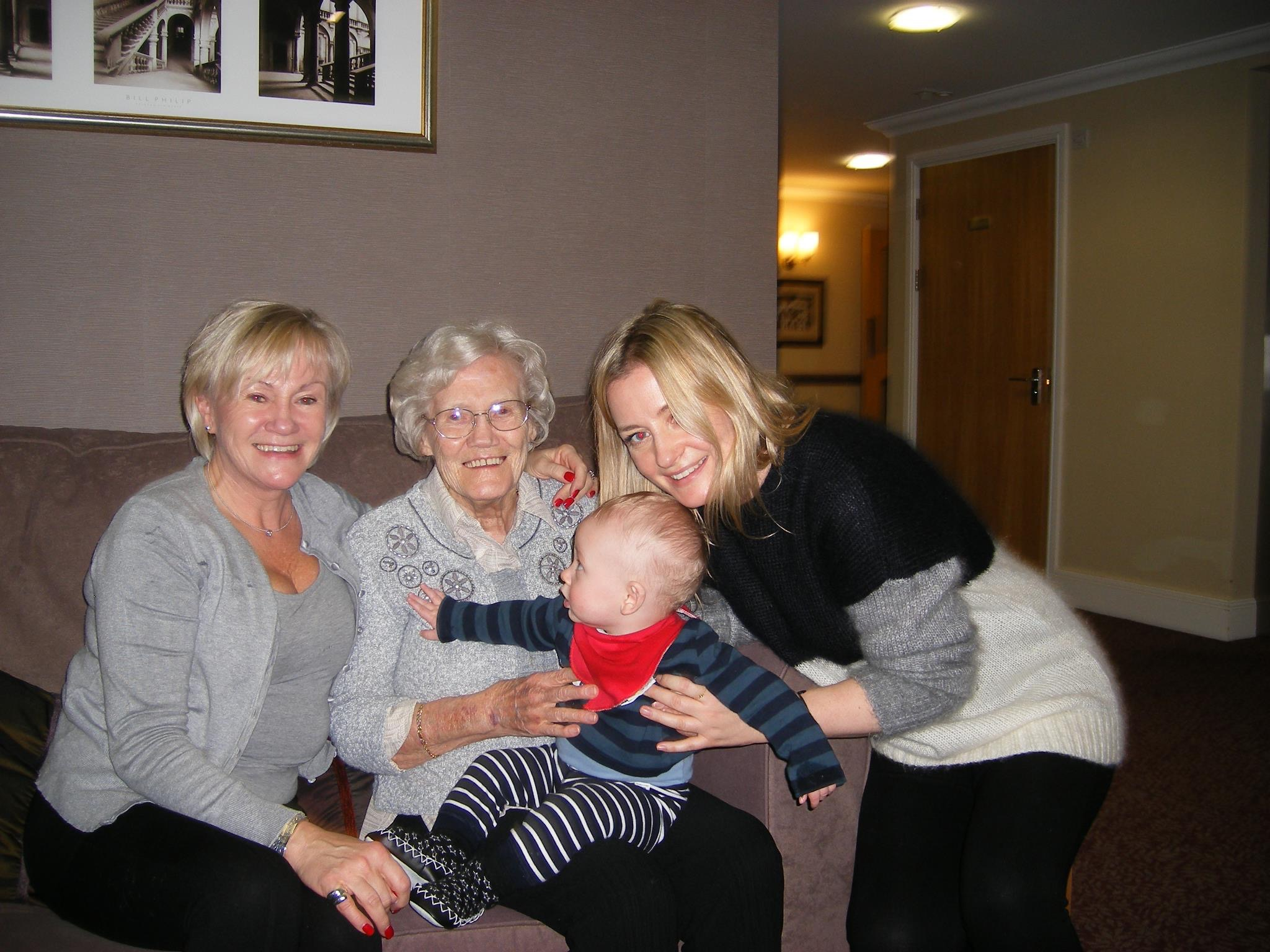 Stacey Duguid with mother, grandmother and baby