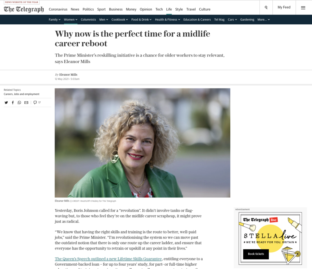 Telegraph article by Eleanor Mills - time for a career reboot